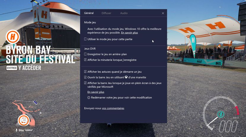 Le menu jeu de Windows 10 (Windows + G) permet d'activer le mode jeu au cas par cas
