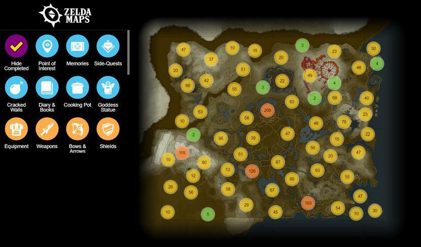 sanctuaire zelda carte interactive Des fans créent une carte interactive pour Zelda BotW   Actu