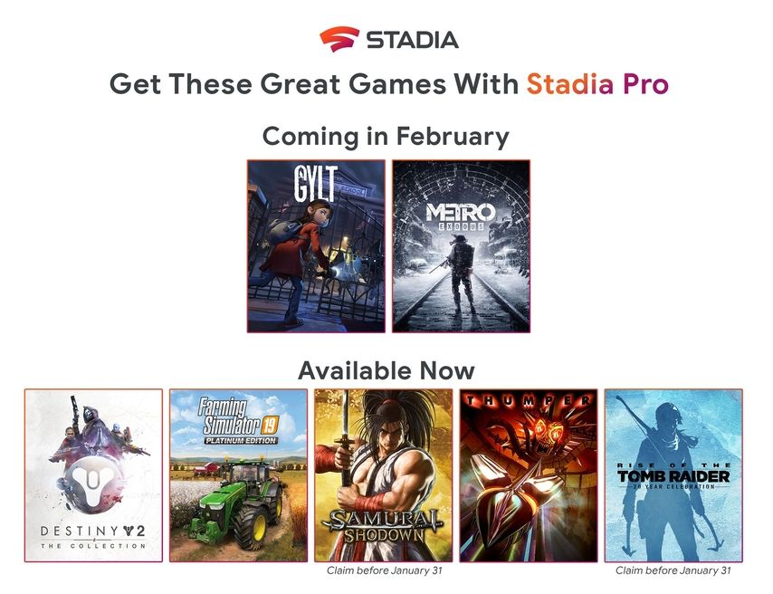 Google Stadia Pro subscriber free games announced for February 2020